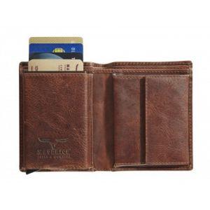 Portomonnee Maverick secret wallet RFID donkerbruin 2 cc met kleingeldvak