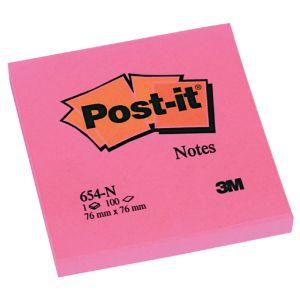 post-it-memo-3m-654-neon-roze-76x76mm;-blok-100-v-392550