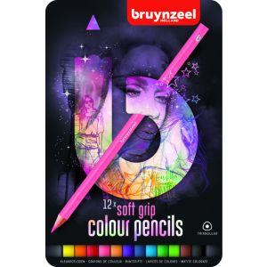 kleurpotloden-bruynzeel-teens-soft-12stuks-roze-blik-assorti-640047